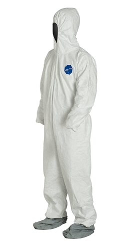 Tyvek 400 TY122S Individually Packed Disposable Protective Coverall with Elastic Cuffs, Attached Hood and Boots for PPE Vending Machines, White