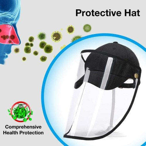 Protective Face Shield Hat Anti Spitting Splashproof Dustproof Facial Cover Hat Saliva Isolation Hat Windproof Eye Face Mouth Guard Protection Sun Hat (Baseball Cap with removeab face cover)
