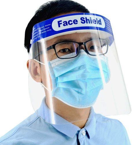 Reusable Safety Face Shield, 5 Pack Adjustable Transparent Full Face Protective Visor with Eye & Head Protection, Anti-Spitting Splash Facial Cover for Women Men