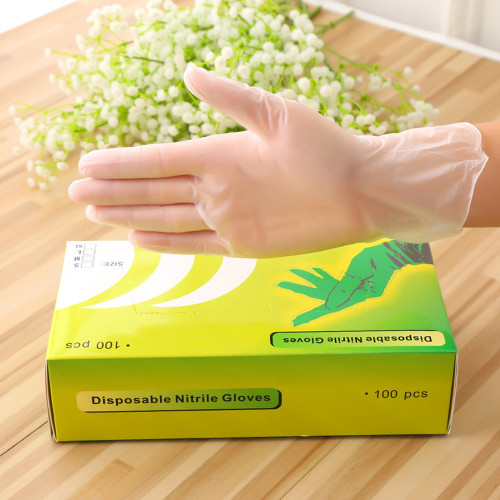 Disposable Vinyl Gloves Latex Free, Powder Free Clear Gloves for Cleaning, Cooking, Hair Coloring, Dishwashing, Food Handling and Food Service (100 pcs)
