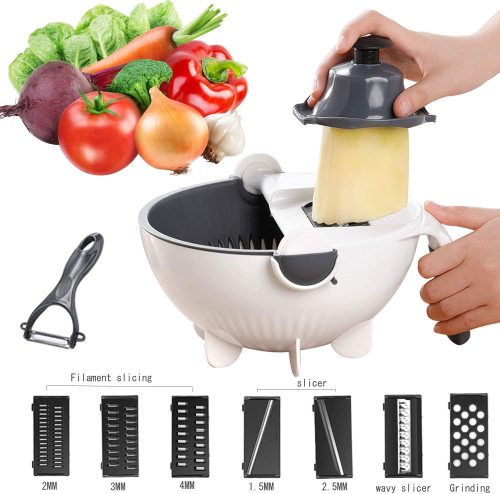 Multifunction Vegetable Cutter Drain Basket Magic Rotate - 7 in 1 Vegetable Cutter Julienne Grater and Chopper Vegetable Cutter with Food Strainer Fruit Colander Veggie Spiralizer