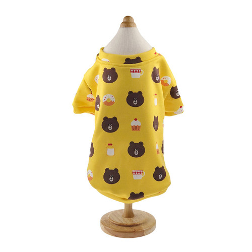 Yellow bear sweater dog clothes pet clothing winter plus velvet sweater cat clothes cute winter new