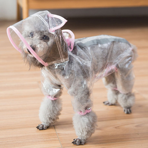 New dog raincoat four feet waterproof transparent all-inclusive clothes pet spring and summer clothing thin section Teddy small dog poncho