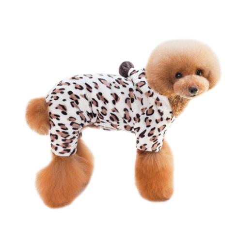 Coral Fleece Pet Clothes Cat Clothes Four-Foot Leopard Print Small and Medium Dog clothes