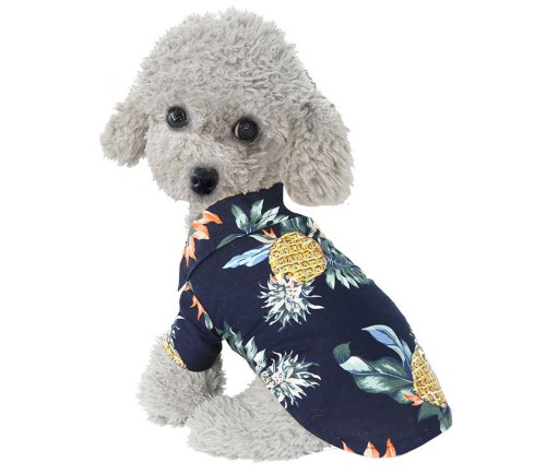 Spring and Summer New Pet Shirt Pineapple Fruit Hawaii Cool Breathable Pet Cat Dog Clothes