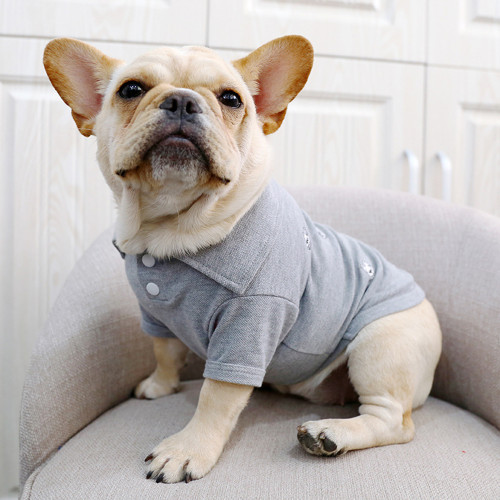 Pet French Bulldog Clothes French Bulldog Clothes Handsome Tide Brand Grey Full Embroidered Small French Bulldog Shirt Pet Dog Corgi