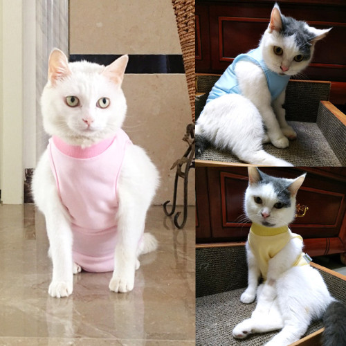 Cat Surgical Clothes Female Cats Sterilization Clothes Weaning Clothing Soft Thin Four-legged Clothes Cats Anti-licking and Anti-biting
