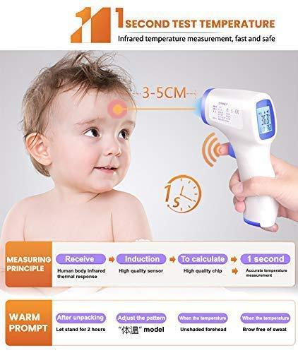 Ishopzone Thermometer, Infrared Digital Non-Contact Accurate Instant Readings Forehead Thermometer with LCD Display No Touch for Adults Kids Baby 2 Packs