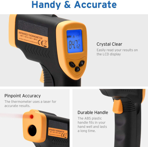 Infrared Thermometer Lasergrip 749 Digital Laser Gun Non-Contact IR Thermometer-58℉~ 716℉ (-50℃ ~ 380℃), Yellow & Black (Not Accurate for Human Temperature)
