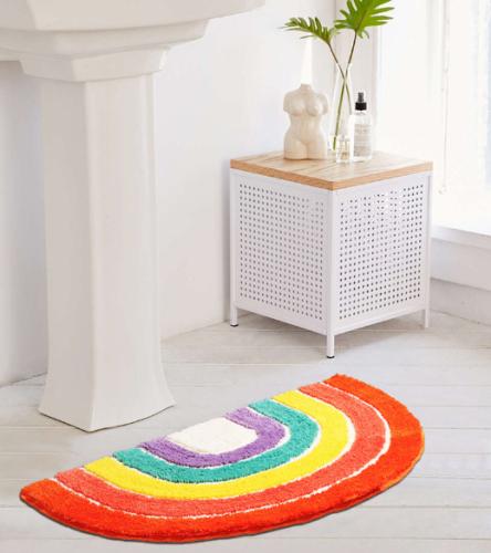 Rainbow Semi-Circle Mat for Front Door Bath Home Decorative Carpet Soft Area Rug for Bedroom Living Room Kids Playroom