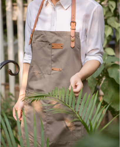 Chef Apron, Cotton Canvas Back Adjustable Apron with Pockets for Women and Men, Kitchen Cooking Baking Bib Apron, Adjustable Strap and Large Pockets,Canvas,Cappuccino Brown