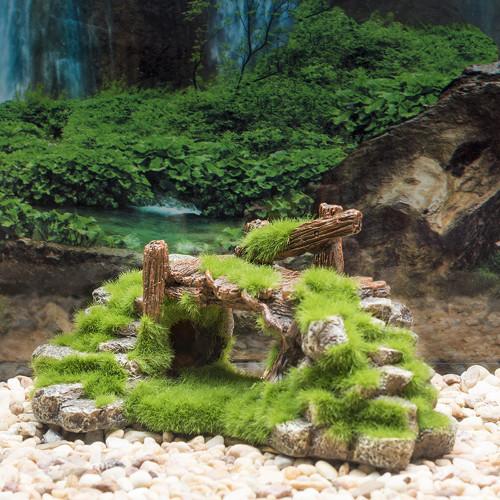 New fish tank resin moss bridge fish play cave decoration fish tank aquarium decoration turtle tank landscape rockery