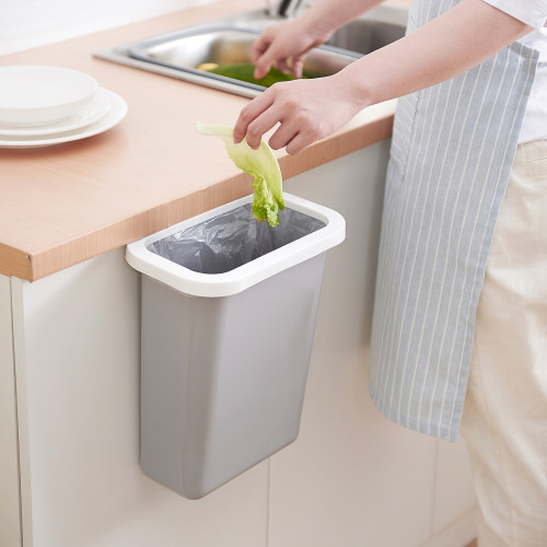 Kitchen cabinet door household wall-mounted uncovered trash can with pressure ring living room bedroom multipurpose debris storage bucket