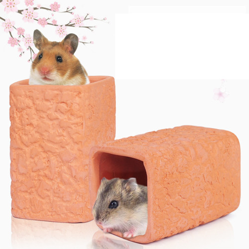 New hamster nest summer cool dual-use toy ceramic nest hamster red pottery tunnel nest