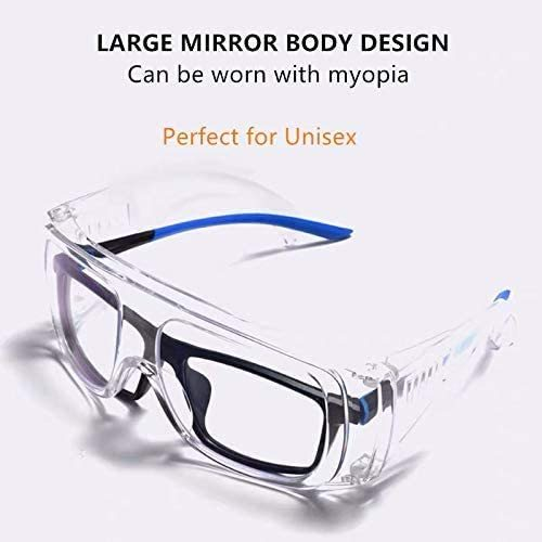 100PCS Protective Safety Goggle FITS FOR GLASSES - Anti-Fog Goggles Against Liquid Splash Clear Lens Wide-Vision Adjustable Surgical Eyewear Unisex Eye Shield Spectacles