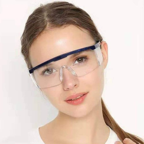 Safety Glasses Protective Eye Wear, Clear Lens, Safety Goggles with Clear Scratch Resistant Wrap-Around Lenses and Grips Black Frame Blue Frame