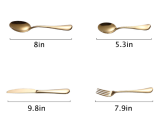 4-Piece Gold Silverware Flatware Set, Stainless Steel Portable Camping Travel Cutlery Set, Home Kitchen Hotel Restaurant Tableware Cutlery Set