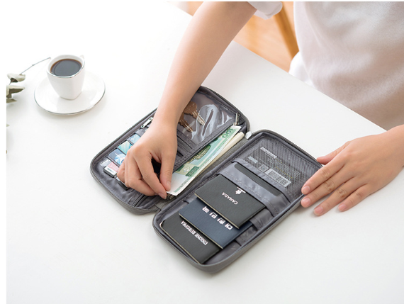 Waterproof Travel Passport Wallet and Credit Card Holder Ticket Document Bag Small Clutch with Zippered Pockets Carry Money, Tickets, Documents Includes Smartphone Pocket
