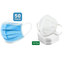 50 disposable masks and 10 KN95 masks, anti-dust, anti-virus and anti-smog
