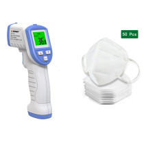 1 Pcs Reusable Infrared forehead temperature gun (Passed CE, FCC, ROHS certification, with instruction manual)and 50 Pcs Disposable KN95 MASKS