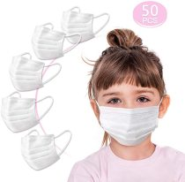 Kids Three Layer Disposable Face Cover, Breathable with Earloops and Nose Clip, White, 50PCS
