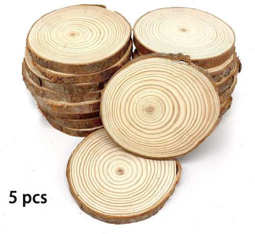 William Craft Unfinished Natural Wood Slices 5 Pcs 3.9-5.1 inch Wood coaster pieces Craft Wood kit Circles Crafts Christmas Ornaments DIY Crafts with Bark for Crafts Rustic Wedding Decorationbirch