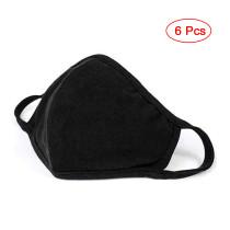 6 Pack Reusable Cotton Fabric, Unisex Black Cotton, Washable