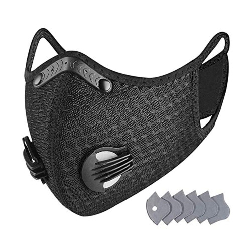 Dust Mask Reusable Activated Carbon Windproof Dustproof Masks with 6 Filters, Adjustable Breathable Sports Face Mask for Running Cycling Motorcycle Mowing Woodworking Outdoor Activities