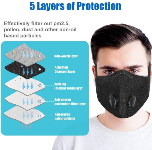 2 Pcs Dust Mask Reusable Activated Carbon Windproof Dustproof Masks with 5 Filters, Adjustable Breathable Sports Face Mask for Running Cycling Motorcycle Mowing Woodworking Outdoor Activities