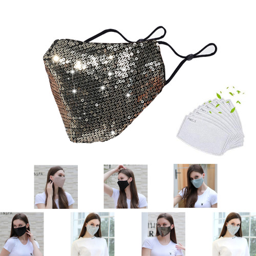 7+14 SET  Summer thin, washable and insertable filter type dustproof breathable colorful cotton mask 7 pieces-Includes 14 Pcs Filters