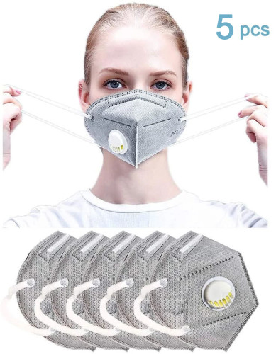 5PCS Breathing Safety Mask, KN95 Disposable Mask with Respirator Activated Carbon Dustproof Mask