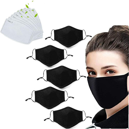 Ishopzone 5-Pack Unisex Fashion Stretch Lightweight Cotton Covering Face and Mouth Reusable Washable Adjustable 3 Ply With 10PC Replacement Filters (5M+10F)