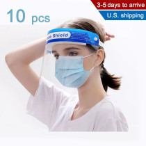 Ishopzone 10 Pack Face Shield, Protection for Face and Eyes with Clear Anti-Fog Lens, Lightweight Transparent Shield with Stretchy Elastic Band for or Men, Women