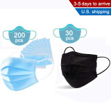 200 Disposable Three-layer Blue Mask and 30 Disposable 4-layer Black Mask,Anti Dust and Air Pollution, Breathable