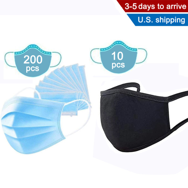 200 Disposable Masks and 5 Pack Washable and Reusable Summer Thin Cotton Mask,Anti Dust and Air Pollution, Breathable