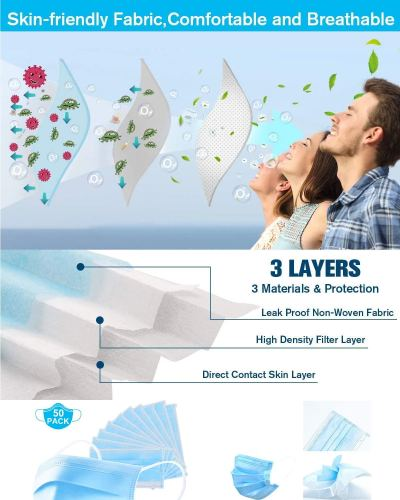 100 Disposable Three-layer Blue Mask and 10 Silicone 3D Mask Brackets for Comfortable Mask Wearing by Creating More Space