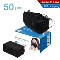 50 Pcs Disposable 4-ply Non-Woven Face Mask, Protected Health Masks (Adults-Black)