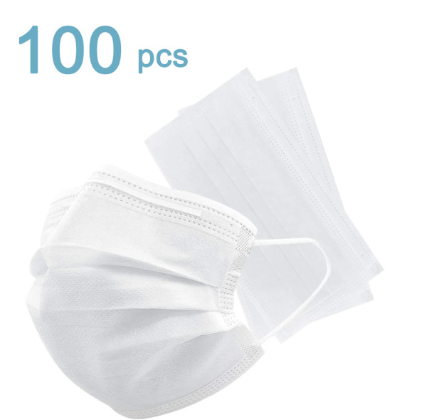 100 disposable masks, three layers of dust-proof breathable earring masks, comfortable non-woven cloth filter masks, suitable for home and office use