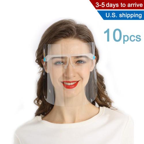 10 Pcs Clear Plastic Glass Face Shields