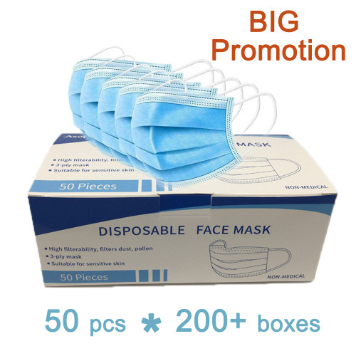 Disposable Face Masks, Breathable Face Mask 3 Layer Protection Facemask, Lightweight Dust Protective Facial Masks for Adult, Men, Women, Indoor, Outdoor Use
