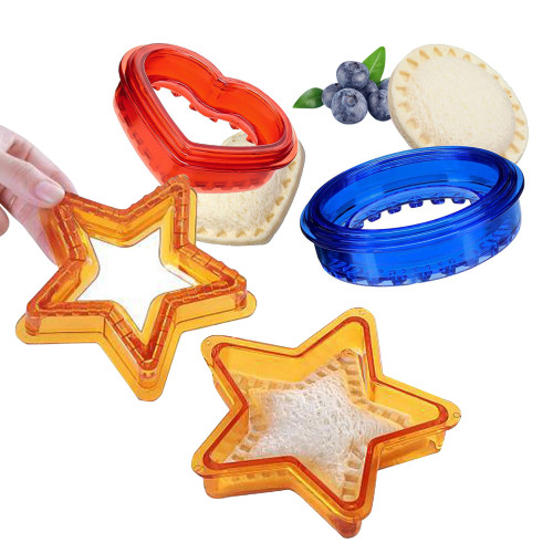 Yjiaka Sandwich Cutter and Sealer 3 Pcs Uncrustable Sandwich Cookies Maker Cut Set, Cute Shapes with Heart Star Round Sandwich Cutters for Kids Lunch, Bread Press Mold for Girls Boys