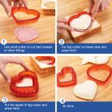 Yjiaka Sandwich Cutter and Sealer 3 Pcs Uncrustable Sandwich Cookies Maker Cut Set, Cute Shapes with Heart Star Round Sandwich Cutters for Kids Lunch, Bread Press Mold for Girls Boys