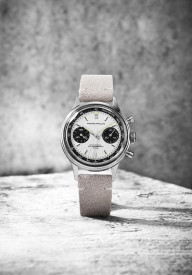 PIERRE PAULIN  Retro 70's Vintage Panda Style Chronograph Mechanical Men's Complicated Acrylic 38MM Small Luxury Classic Wrist Watch