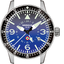 MERKUR GMT PILOT 100M AUTOMATIC Sapphire Ceramic Bezel Mens Watch