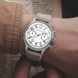 Enamel Red 12 Manual Mechanical Chronograph German Style Retro Complicated Men's Luxury Dress Handwind Watch