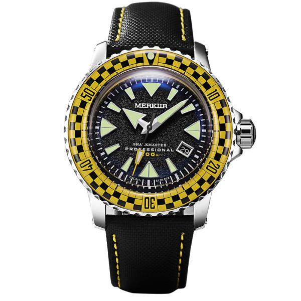 MERKUR SHARK MASTER Sapphire Vintage Racing Rally Yellow Red Bezel Sport Japan NH35 Automatic Diver's Men's Luxury 44MM Watch