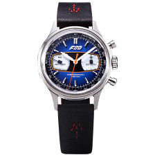 FOD Racing Mechanical Chronograph 70's Retro Rally Style Watch Men's Dress Hand winding Gradient Blue Green Luxury Complicated