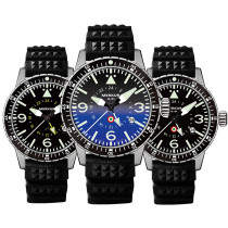 MERKUR GMT PILOT Series 100M Water Proof  High Beat Automatic Sapphire Ceramic Bezel Men's Diver Sport Luxury Dress Watch