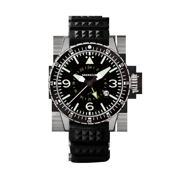 MERKUR GMT PILOT Series 100M Water Proof  High Beat Automatic Sapphire Ceramic Bezel Men's Diver Sport Luxury Dress Watch