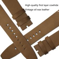 MERKUR Waterproof Skin-friendly Breathable, Retro Oil Wax Universal Craft Leather Watchband Watch Accessories